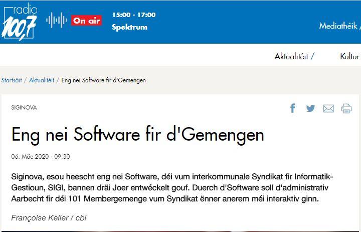 «Eng nei Software fir d'Gemengen»
